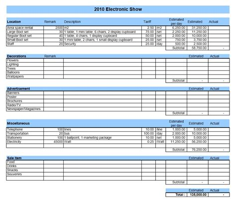 Event Budget  Excel Templates