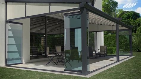 pergola roof and sliding stackable glass walls with screens youtube