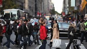 Crowd walking crossing street new york city NY NYC ...