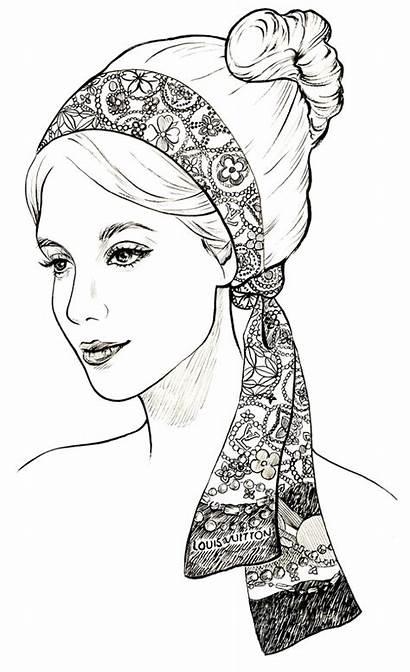 Vuitton Louis Coloring Pages Coloriage Sketch Scarves