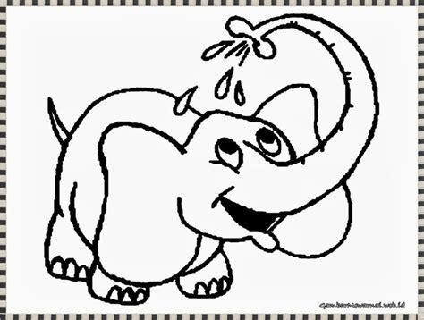 gambar mewarnai gajah sedang mandi gambar mewarnai