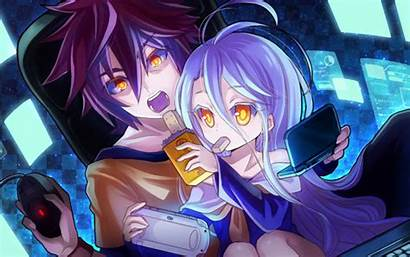 Anime Playing Desktop Computer Shiro Sora Cool