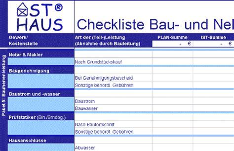 Asthaus© >> Checkliste Kostenkontrolle Bau Und Nebenkosten