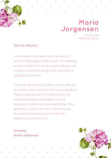 pink floral dotted personal letterhead  letterhead