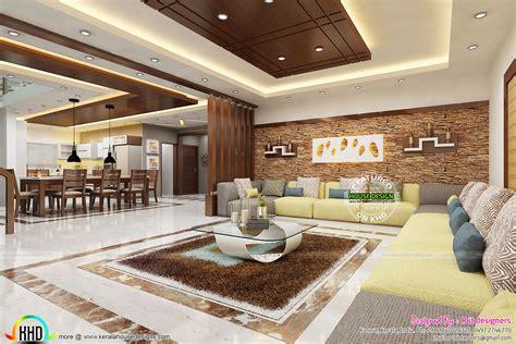 beautiful living  dining room interiors kerala home