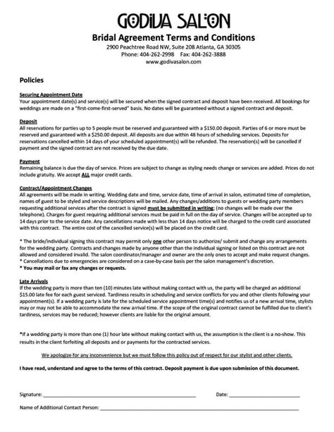 hairdressing contract  employment template