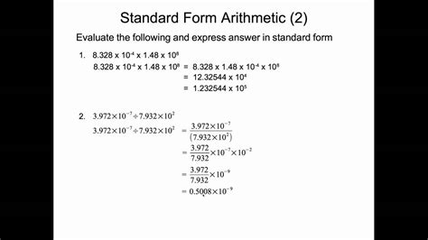 standard form multiplication and division youtube