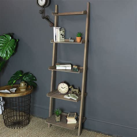 Rustic Ladder Bookcase by Rustic Leaning Ladder Bookcase Shelving Unit Melody Maison 174