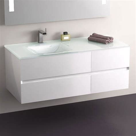 meuble salle de bain blanc 120 cm 4 tiroirs plan verre