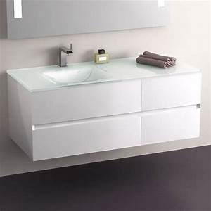 Meuble Tiroir Salle De Bain : meuble salle de bain blanc 120 cm 4 tiroirs plan verre glass ~ Teatrodelosmanantiales.com Idées de Décoration