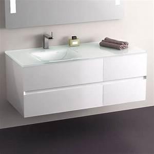 meuble salle de bain blanc 120 cm 4 tiroirs plan verre With meuble de salle de bain 120 cm