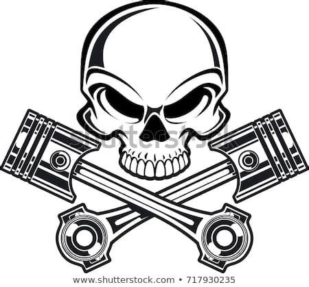 skull crossing engine pistons stock vector  shutterstock