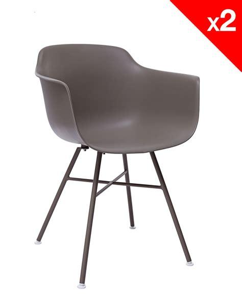 chaises métal lot de 2 chaises design dsx avec accoudoirs supa