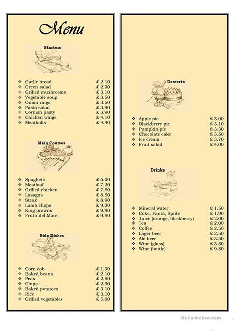 menu   restaurant ordering food worksheet  esl