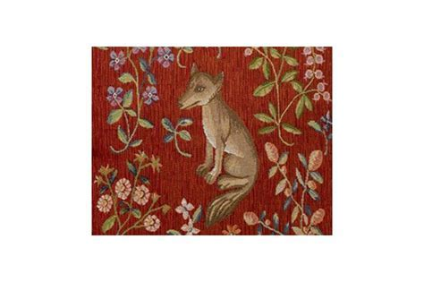 Luxury French Medieval Fox Tapestry Accent Pillow