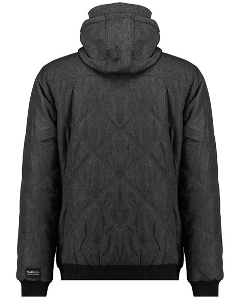 twisted soul mens grey hooded jacket stitch zip