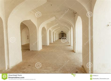 white arches indian house long corridor building india stock image
