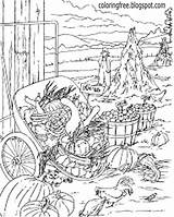 Plantation Template Coloring Pages Garden Vegetable Adults Harvest Autumn Drawing Sketch Complex sketch template