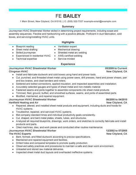 journeymen hvac sheetmetal workers resume exles