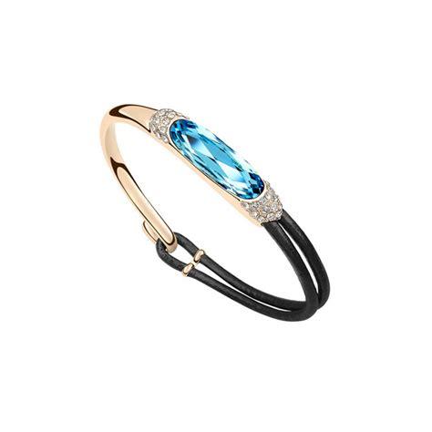 bracelet swarovski bleu bracelet cuir et cristal de swarovski elements bleu