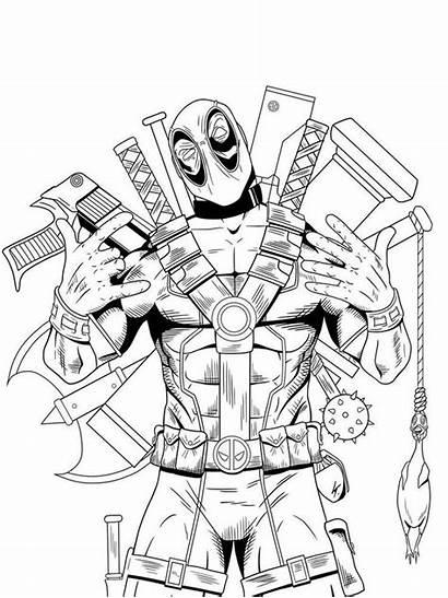 Coloring Deadpool Marvel Spiderman Superhero Pdf Gaddynippercrayons