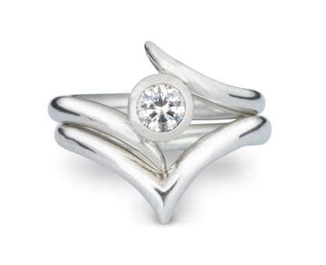 handmade engagement ring with wishbone wedding ring pruden and smith