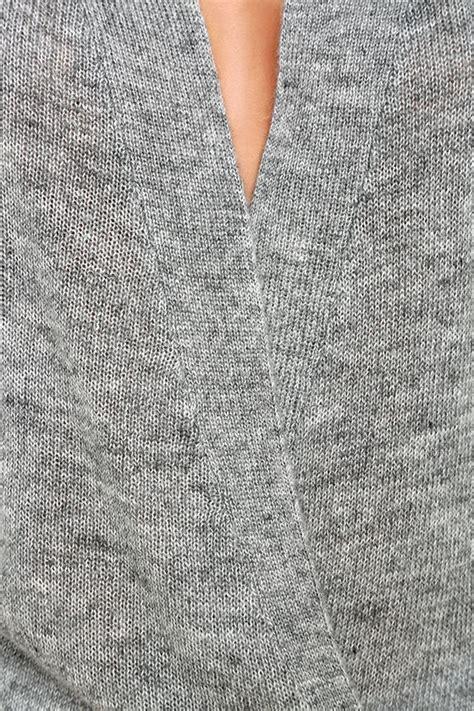 chic grey sweater wrap sweater low cut sweater 42 00