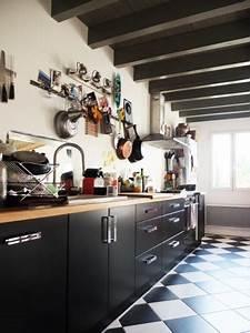 Cuisine Blanc Et Noir : cuisine damier noir et blanc ~ Voncanada.com Idées de Décoration