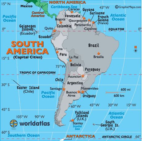 south america capital cities map map  south america