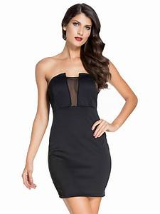 Black Mesh Accent Strapless Mini Dress | E22326 | Cilory.com