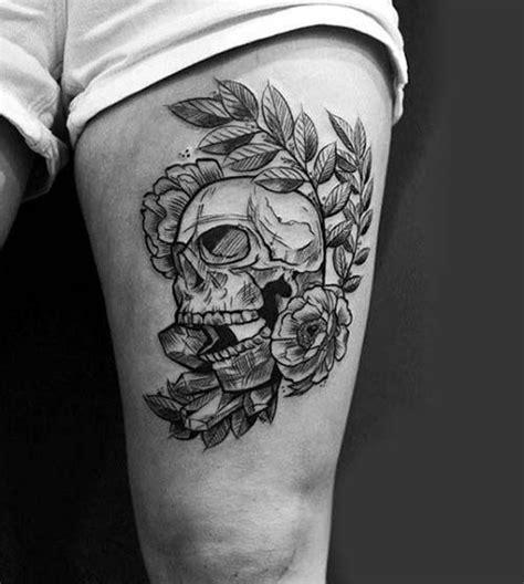 thigh tattoo men ideas  pinterest skull