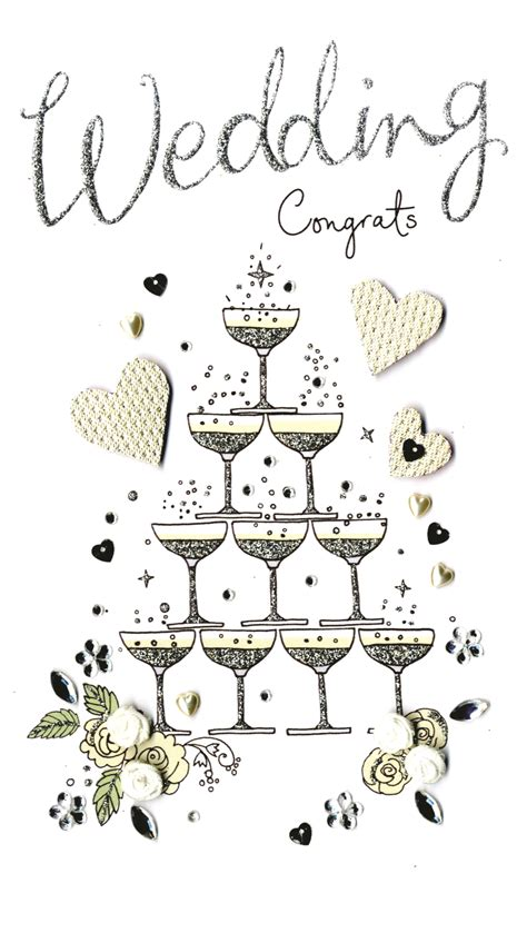 wedding congratulations luxury champagne greeting card cards