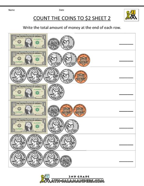 worksheets about money for grade 2 2nd grade money worksheets count the coins to 2 dollars 2