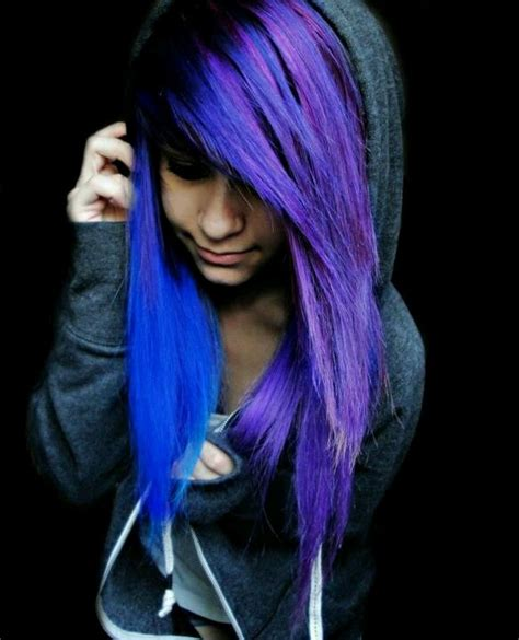 Electric Blue And Purple Hair Feathered Pinterest