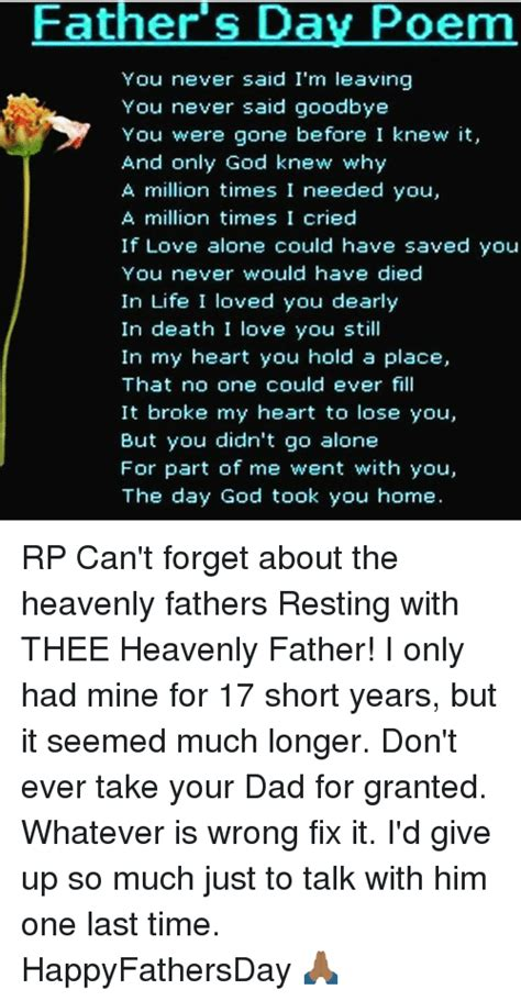 fathers day poem    im leaving
