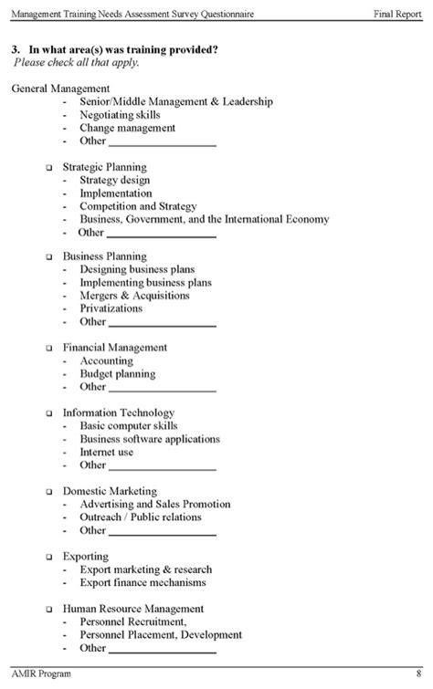 management training  assessment survey