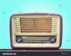 Retro Old Radio Front Green Background Stock Photo ...