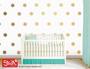 Polka circles wall decor : Polka dot wall decals gold decal removable