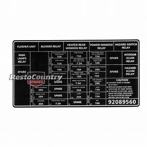 Holden Commodore Fuse Panel Decal Vx Relay Wire Sticker