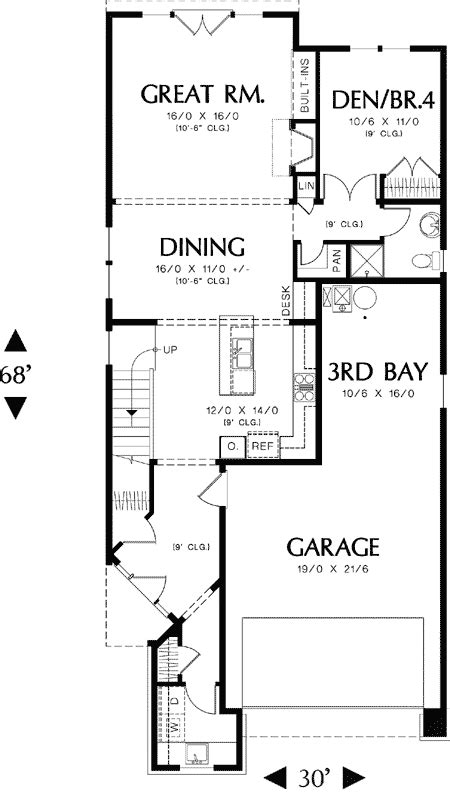 New England Style Narrow Lot Plan
