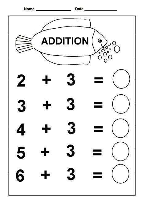 simple addition kindergarten math practice worksheets