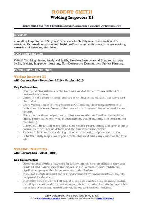 welding inspector resume samples qwikresume
