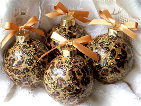 leopard animal print glass christmas ornaments lot