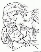 Coloring Pan Frying Rapunzel Tears Defense Tool Tangled Pages sketch template