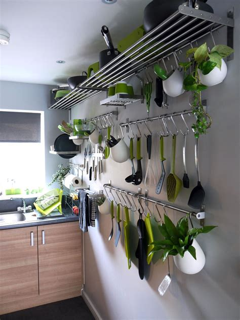 stainless steel hanging kitchen pots and pans rack storage for saving small kitchen spaces