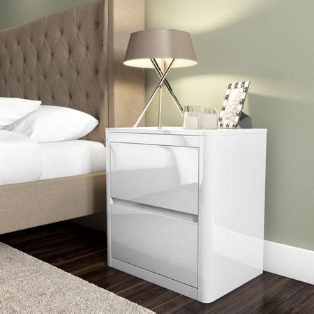 Lexi White High Gloss 2 Drawer Bedside Table   Furniture123