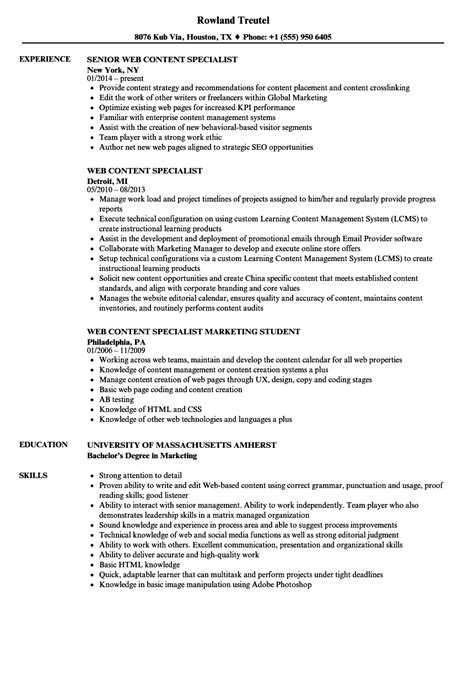 Resume Content by Web Content Specialist Resume Sles Velvet