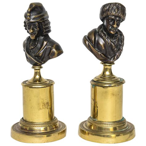 Pair Of French Bronze Busts Of Voltaire And Rousseau