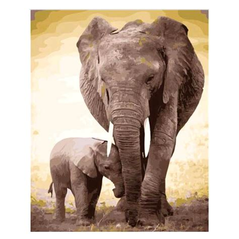 2018 elephant family diy painting by numbers canvas