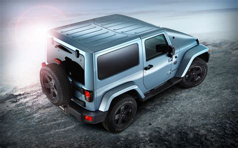 arctic jeep 2012 jeep wrangler arctic edition rear view with top on